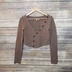 Anthropologie Moth Cropped Wool Blend Wrap Sweater